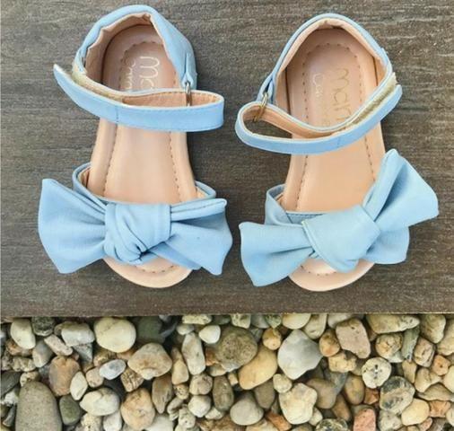 Sandália infantil Laço azul Nova