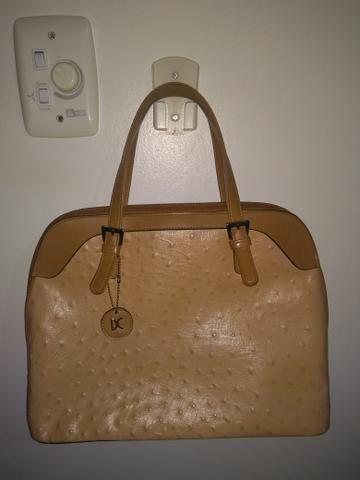 Bolsa couro sintético de avestruz