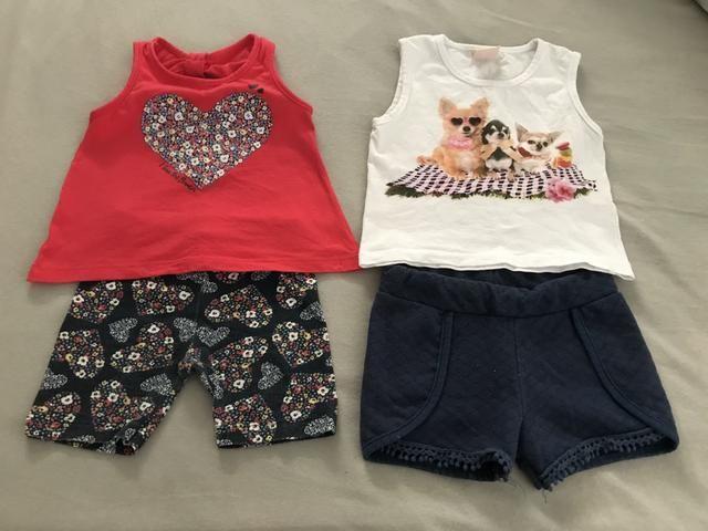 Lote feminino com 9 peças tamanho 1 ano (5 vestidos e 4 conjuntos) - Foto 4