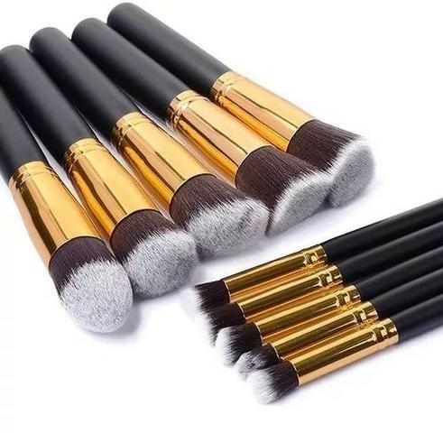 Pincel Para Maquiagem Kit 10 Pçs Kabuki Pronta Entrega - Foto 4