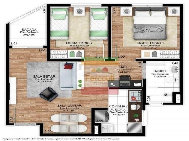 Residencial punta del este, apartamento 2 dormitórios eleva padrão do bairro santo afonso - Foto 7