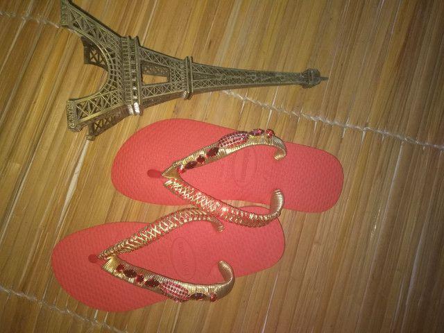 Sandálias customizadas Pedrarias de luxo - Foto 4