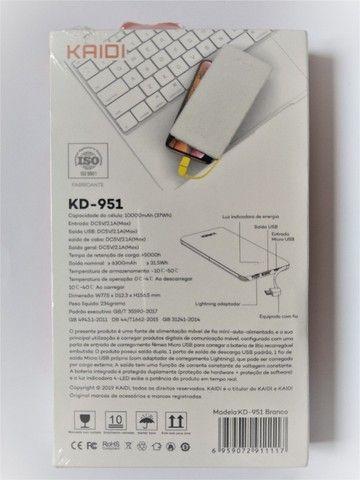 Carregador Portátil Kaidi Power Bank Original Slim Kd-951 10000mah - Foto 2