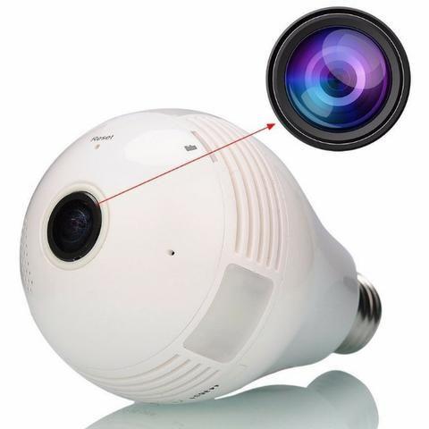 Lâmpada Câmera Vr Cam Wifi Ip Hd Panorâmica 360º Espiã
