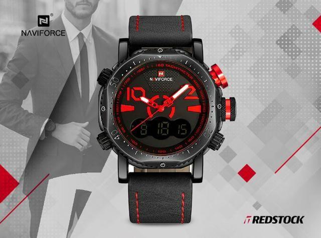 Relógio Naviforce 9094 Masculino Couro - Vermelho
