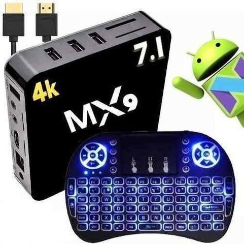 Kit Tv Box 4k Android 7.1 Mx9 Quad Core + Mini Teclado