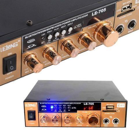 Mini Amplificador de Som Bluetooth Karaoke Le-705 Lelong 110v Usb Cartão Mp3 Fm 2 Canais - Foto 6