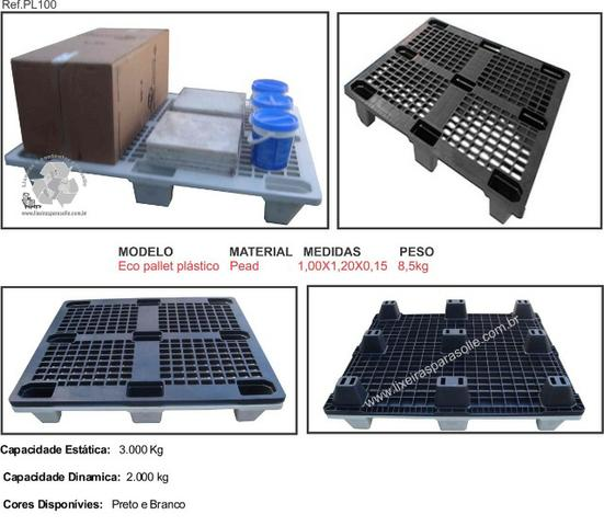 Pallet plástico vazado comercial-modelo empilhável - Foto 2