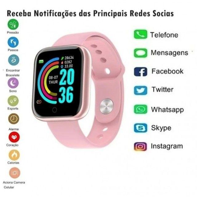 D20 Rosa Relógio Smart Funções Celular Esportivas - Foto 3