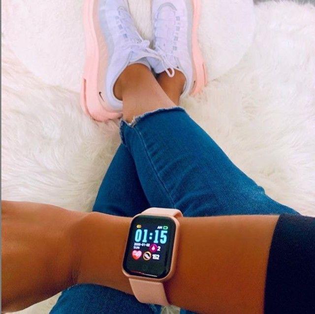 D20 Rosa Relógio Smart Funções Celular Esportivas - Foto 6