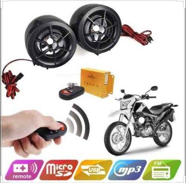 Alarme Caixa De Som  Mp3 Usb Rádio Fm Cartão para moto - Foto 2