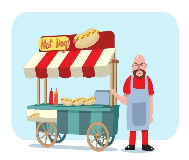 Carro de hot dog todo equipado