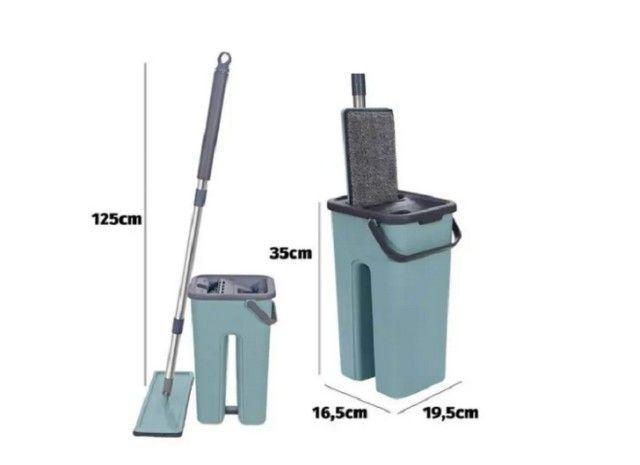 Rodo Mop Flat E Balde Para Limpeza De Piso + 1 Refil