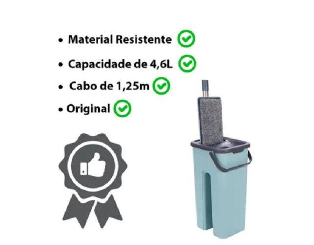 Rodo Mop Flat E Balde Para Limpeza De Piso + 1 Refil  - Foto 4