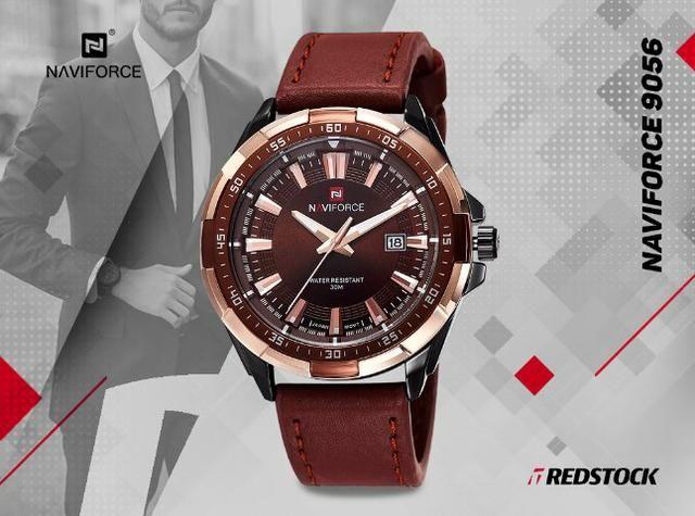 Relógio Naviforce 9056 Masculino Couro - Marrom