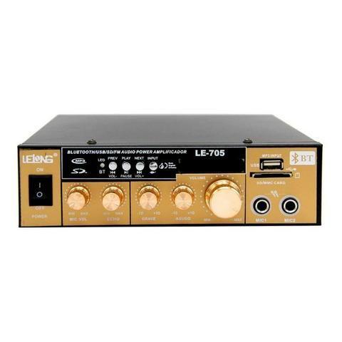 Mini Amplificador de Som Bluetooth Karaoke Le-705 Lelong 110v Usb Cartão Mp3 Fm 2 Canais - Foto 4