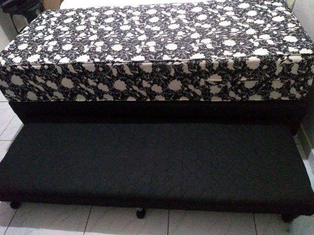 Cama solteiro com colchão seminovo e com cama auxiliar - Foto 2