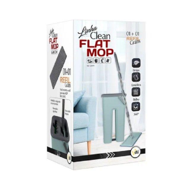 Rodo Mop Flat E Balde Para Limpeza De Piso + 1 Refil  - Foto 5