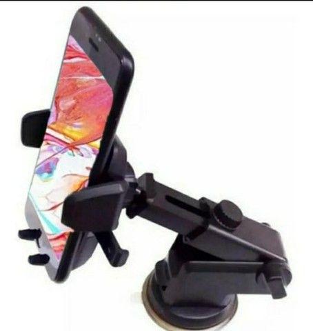 Suporte Celular GPS Carro Resistente Firme Haste Ajuste Prolongável Rotação 360  - Foto 2