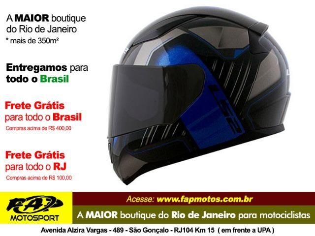 Capacete Ls2 Ff353 Rapid Medal Preto Cinza Azul - Frete Grátis Brasil