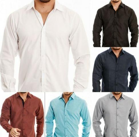 bb4922504e Camisa Social Masculina Slim Fit Luxo Elastano, Entregamos Grátis, Várias  Cores - LEIA!