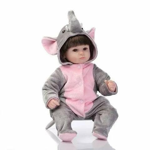 1e5b2cb0d96de3 Boneca Bebê Reborn Menina Baby Fantasia Bichinho Elefantinho