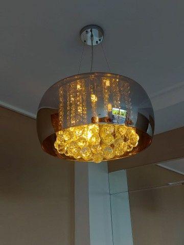 Lustre / Pendente Cristal Espelhado com Lâmpadas Led. - Foto 2