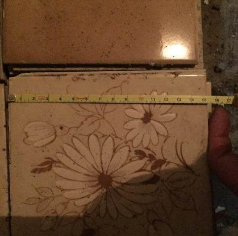 Azulejo 15.2 X 15.2mm Antigo Flores Desenhado Cerâmica Usado