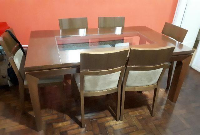 Mesa madeira tessaly - cor amêndoa