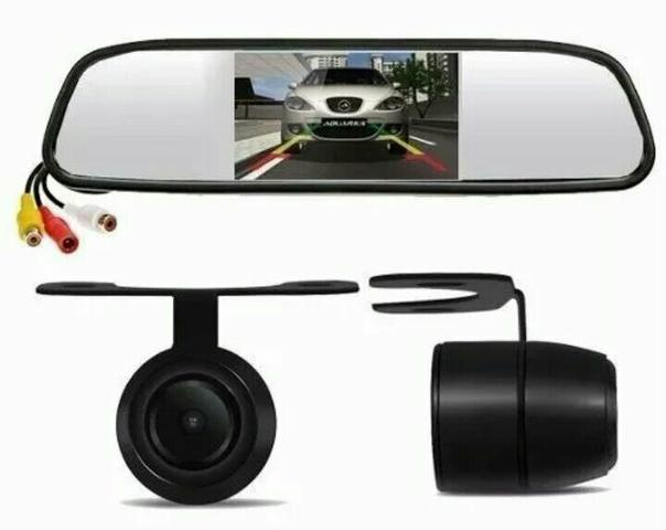 Kit espelho retrovisor monitor com câmera de ré