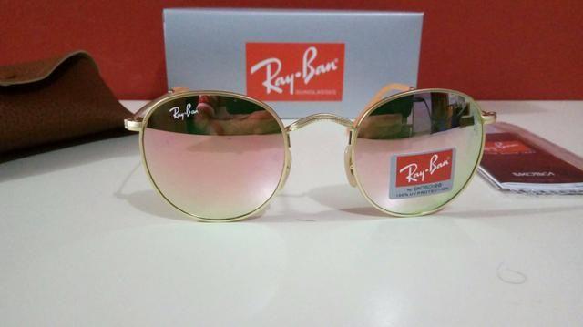 Óculos de sol Ray Ban Round Metal Rosé Novo Frete grátis ... 34842aadab