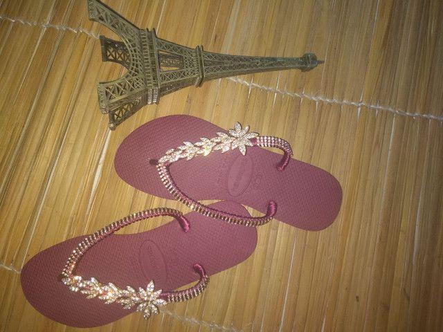 Sandálias customizadas Pedrarias de luxo - Foto 3