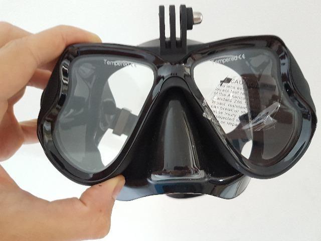 Máscara mergulho suporte Gopro e capa