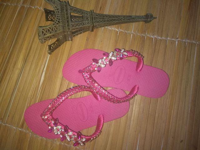 Sandálias customizadas Pedrarias de luxo - Foto 2