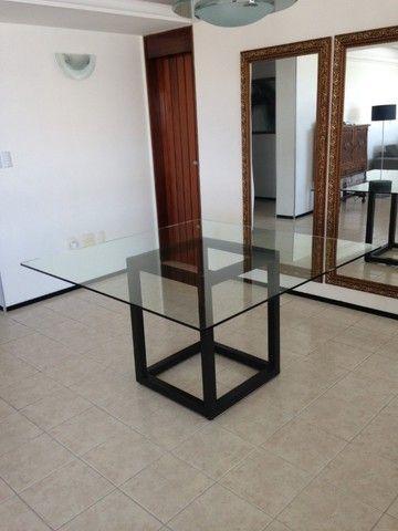 mesa tampo de vidro quadrada