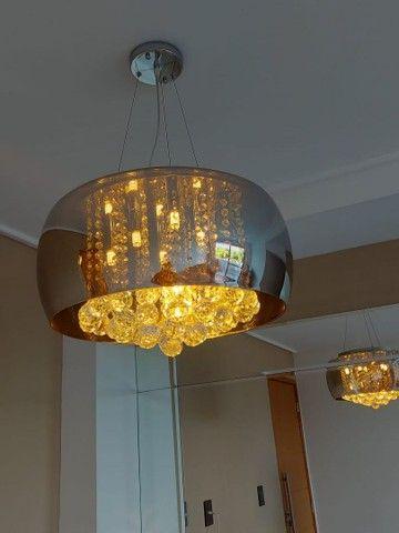 Lustre / Pendente Cristal Espelhado com Lâmpadas Led.