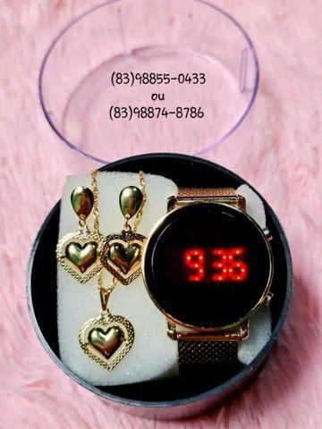 Lindos Kits de Relógio mais Conjuntos Folheados (Acompanha caixinha e bateria extra) - Foto 4