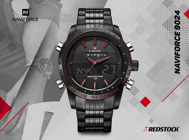 Relógio Naviforce 9024 Masculino Aço - Preto
