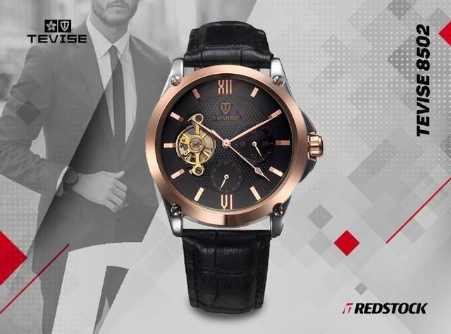 Relógio Tevise 8502 Mecânico Automático Couro - Preto com Dourado