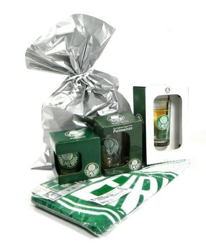 Kit Presente Torcedor Palmeiras SP 4x1 1Toalha 2Canecas 1Copo
