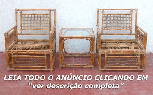 Poltronas almofadas mesa vime LEIA! - Foto 2