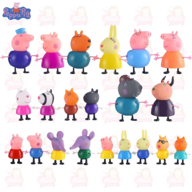 Miniaturas da peppa lindas com 25 personagens turma completa