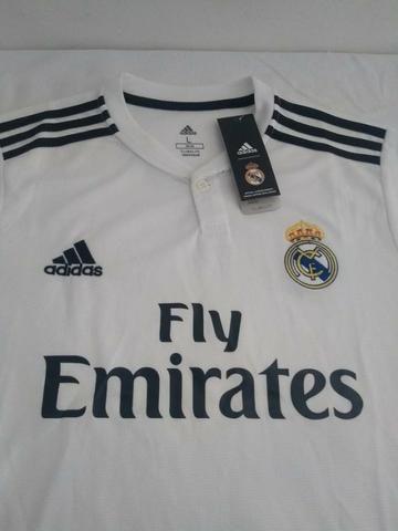 4b5112a746 (Oferta) Camisa Real Madrid Oficial 2018 2019 com Minicraque de Brinde