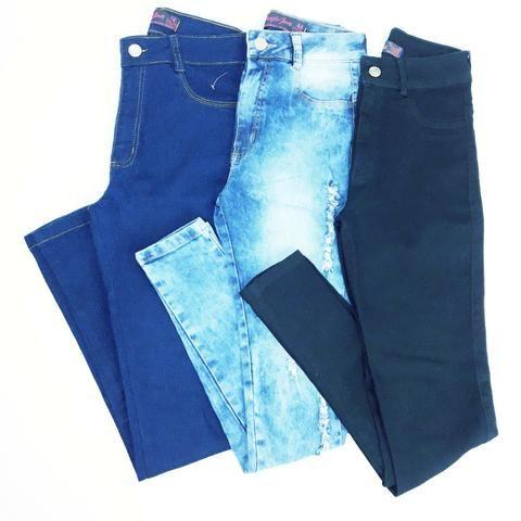 118c9fd44 Kit 3 calças jeans feminina cintura alta com lycra barato direto fabrica