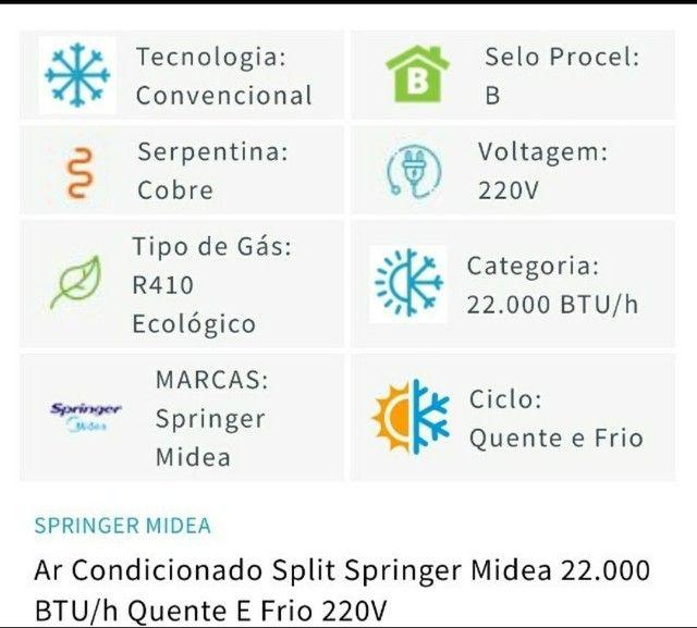 Ar condicionado split springer midea 22.000 BTU/h Quente e Frio 220V - Foto 3