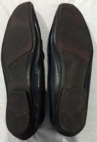 Mocassim em couro de marca via mond cor preto, solado de borracha 37 - Foto 3