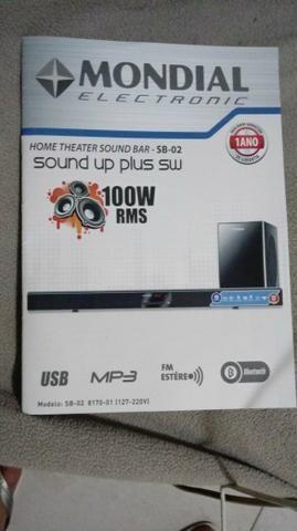 Home theater é sound bar mondial com nota. Modelo sb 02
