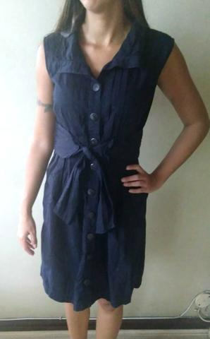 Vestido Azul Marinho de Botão da Zipper-Zipper