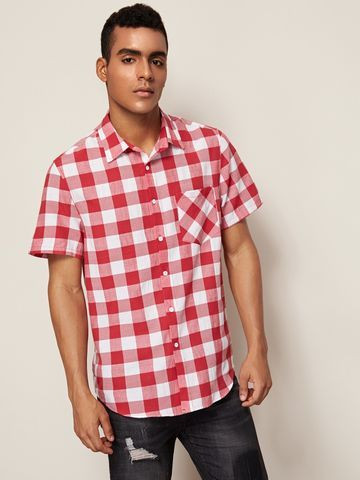 Camisa Xadrez Masculina Shein Vermelha E Branca - Tamanho M