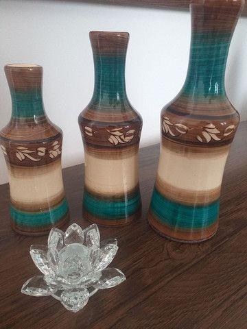 Trio de vasos garrafas em cerâmica  - Foto 2